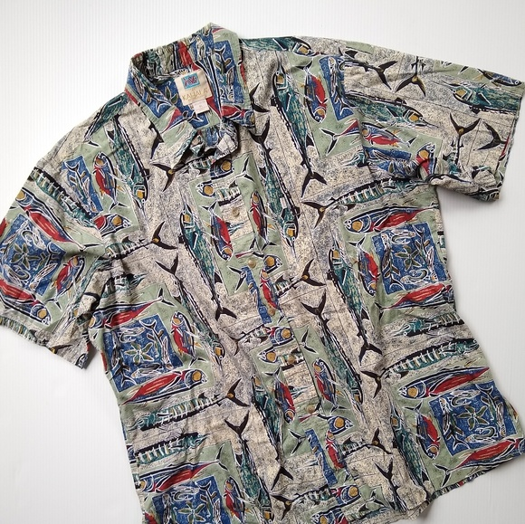 e3772c5c1 Shirts | Kahala Mens Nautical Fish Exotic Print Shirt | Poshmark